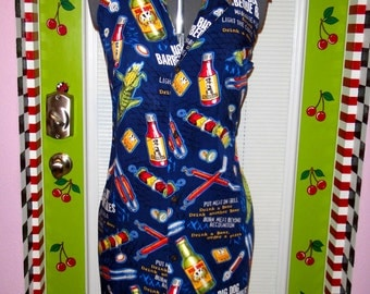 Full Length Apron, made from a upcycled men's shirt!  Handmade in the USA by Sew Terri Vintage on ESTY!