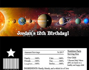 Solar System Planets Outer Space Candy Bar Wrapper Party Favor Digital or Printed FREE SHIPPING