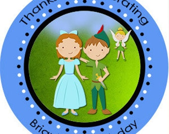Peter Pan Birthday Party Favors Personalized Stickers Many Sizes