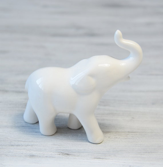 Vintage Porcelain Elephant Figurine White Elephant Sculpture
