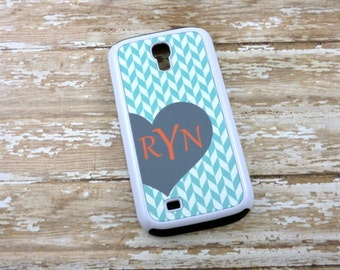 Samsung Monogrammed Herringbone teal, gray & coral phone case-heart case-Choose  colors-Iphone 4/4s/5/5s/5c-iphone 6-Note