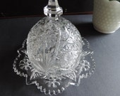 Antique Imperial Glass Brilliant Period Covered Butter Dish c. 1913 Cosmos Pattern
