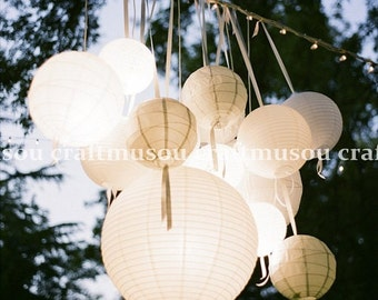 "50 Round Chinese Paper Lantern Led Set 7x18"" 7x16"" 7x14"" 12x12"" 7x10"" 5x8"" 5x6"" DIY KITS for Wedding Party Floral Event Sky Decoration"