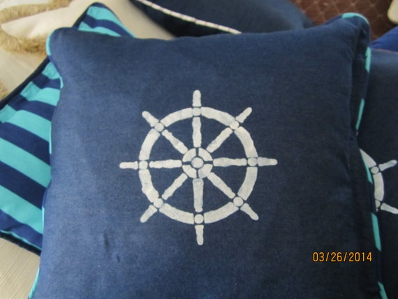 Reversible nautical pillow with regatta stripe back 20 inches