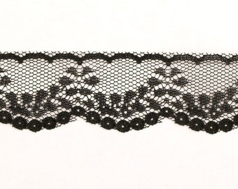 Vintage Black Lace Trim 3 yards 1 inch wide