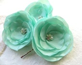 Mint green bridal wedding hair flowers (3 pcs), bridesmaid, Limpet Shell hairpieces, hair clips, hair accessory, READY TO SHIP