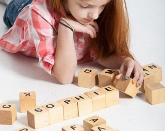 Personalized Wood Name Blocks - Alphabet Building Blocks,  eco friendly toys, children wooden toys.