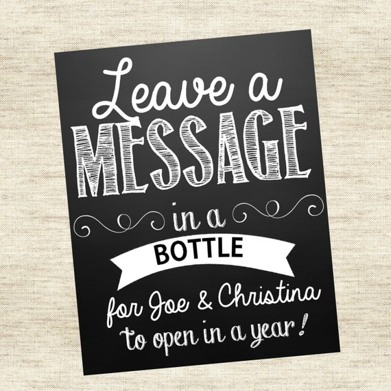 Leave a Message in a Bottle Sign, Wedding guest book alternative ...