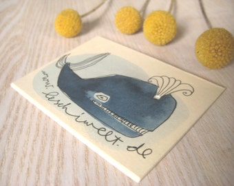 Whale ORIGINAL cards whale fish art