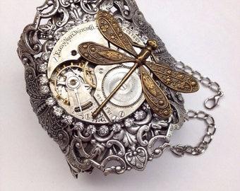 Flight of the Dragonfly Steampunk Cuff Bracelet