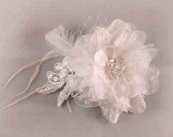 Ivory Flower Fascinator  - With Lace, Goose Feathers, Tulle, Swarovski Crystals & Pearls - Wedding Fascinator,