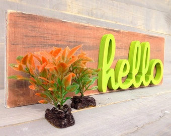 Wooden hello sign- Wood sign Hello- Rustic Sign Hello- Hello Home Decor- Wooden hello sign