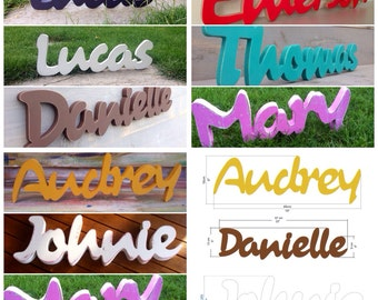 Nursery Baby Name Sign Wood- Nursery, Baby Name, Children's Name, Home Decor, word UP to SEVEN letters cursive style