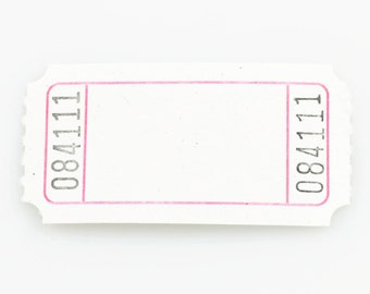 CARNIVAL TICKET STUBS (Set of 100) - White Numbered Carnival Ticket Stubs (5cm x 2.6cm)