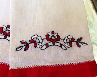 Pair of Vintage Handmade Linen Tea Towels