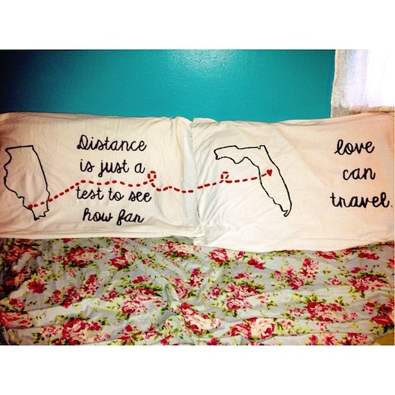 Cute Long Distance Pillow : Items similar to Personalized pillow cases for a loved one that is far away! on Etsy