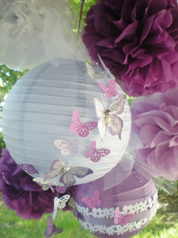 Purple pom poms and paper lanterns radiant orchid with hand-painted butterflies, set of 4 pom poms and two lanterns