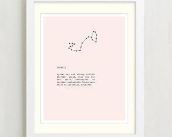 Scorpio Constellation Typography Print - Zodiac Sign Art - Wall Decor - Birthday Gift - Scorpio Sign Art