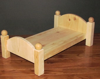Handmade Wooden Doll Bed - 20 Inches long