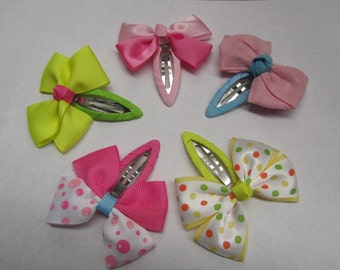 Girls snap clip baby bow snap clip barrattes polka dot hair clips toddler hair accessories infant snap clip gift set Summer hair clips