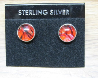 SALE <<<<Dichroic Glass in Sterling Silver Earrings 12mm