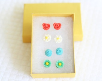 Girl's Earring Set, Little Flower Earrings, Resin Flower Earrings, Cabochon Earrings