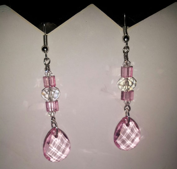 Pink Acrylic Crystal Chandelier Earrings