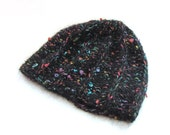 Black knitted cap, soft cap, warm hat, wool hat, knitted hat,colored speckles,textured yarn