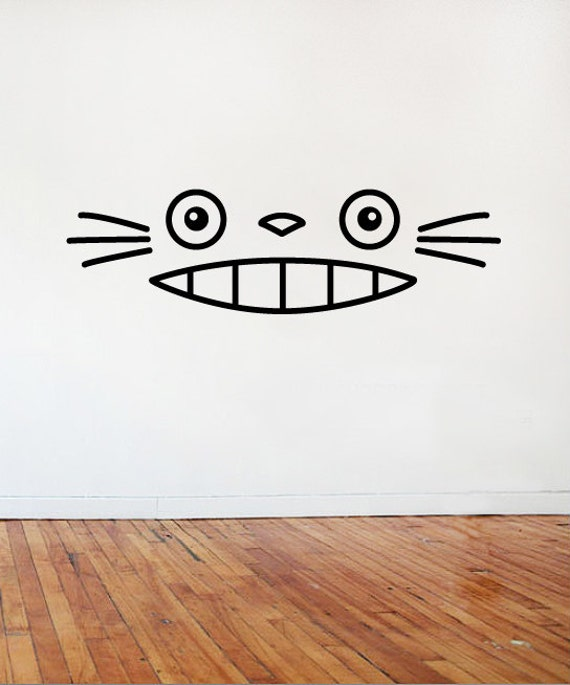 smiling totoro wall car decal vinyl multiple sizes colours