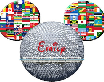 IRON-ON - EPCOT Ball Ears with Monorail & Flags! - Mouse Ears Tshirt Transfer / Decal
