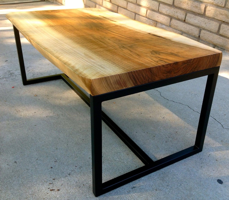 Slab Coffee Table: Walnut Slab Coffee Table With Black Metal Base