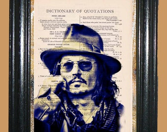 Johnny Depp Art Deco - Vintage Dictionary Page Book Art Print Upcycled Page Art Dictionary Print