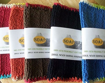 Knit Washclothes-U Choose the Color-Bold-Custom Washcloth-Handmade Washcloth-Lasts a Long Time-Eco Friendly Washcloth