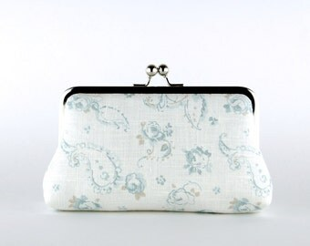 Bridesmaid Clutch, English Garden in Ice Blue Clutch, Silk Lining, Bridesmaid Gift, Wedding clutch, Ice and Blush collection