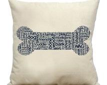 "Dog Bone 16"" Pillow w/ insert - Natural Cotton Canvas Dog Breed Pillow"