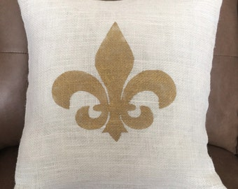 Custom made burlap Fleur De Lis pillow cover/sham