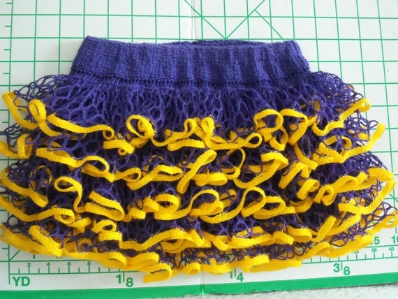 Baby or toddler ruffled skirt. Show your team spirit! Purple and gold