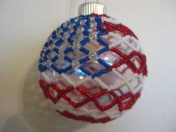 American flag beaded glass ball ornament