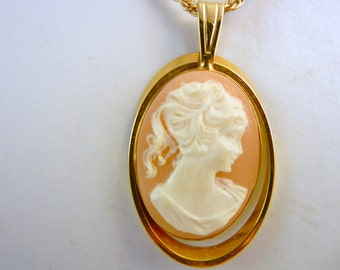 Vintage Cameo Necklace Gold Tone Open Frame