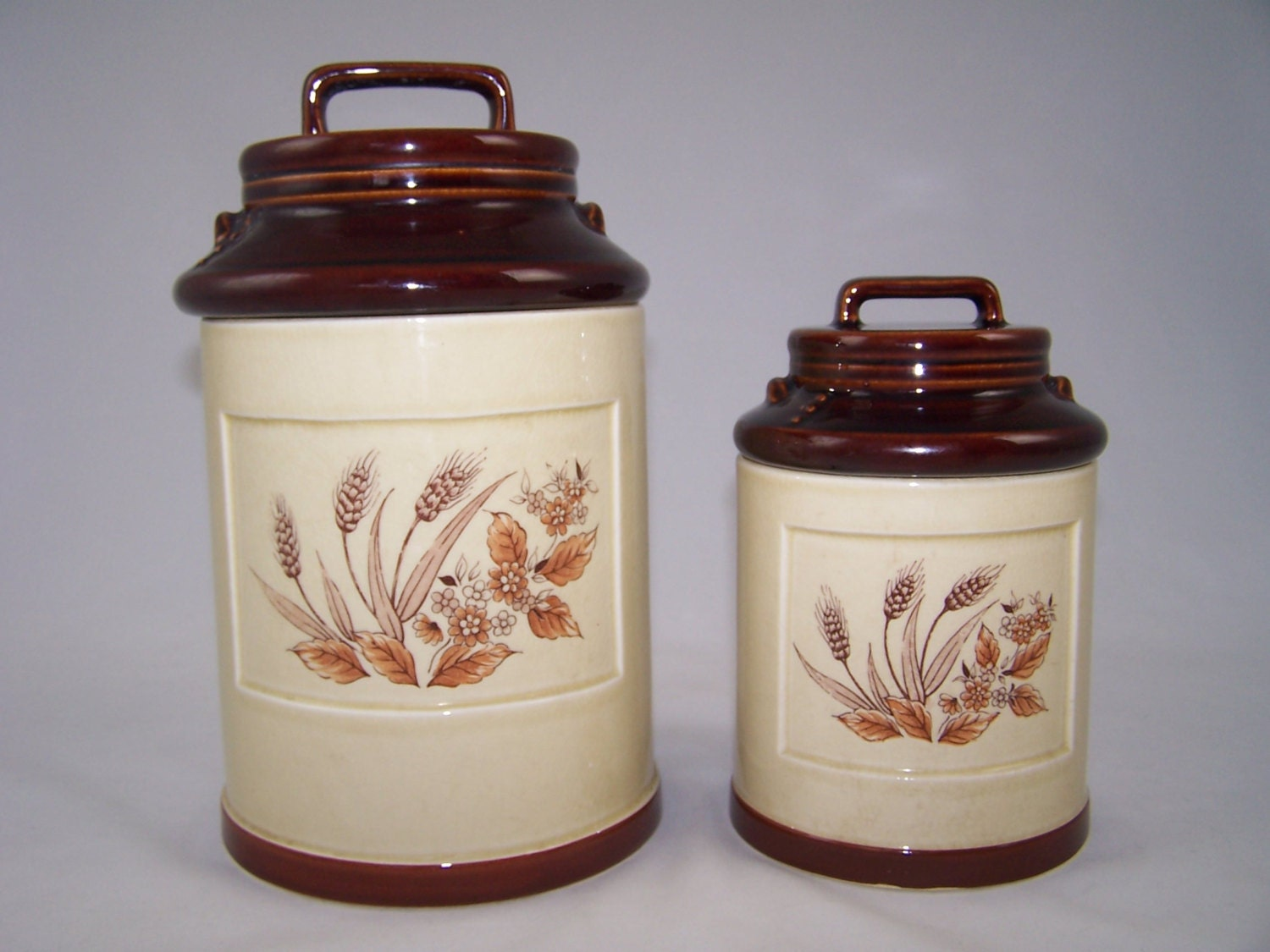 vintage ceramic kitchen canister set 2 1960 s handled fioritura ceramic kitchen canister set
