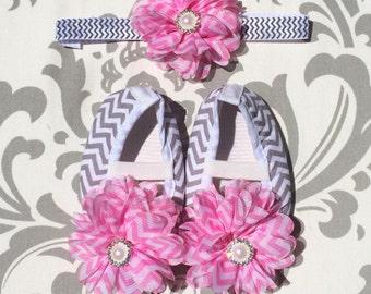 Pink Grey Chevron Shoes, Pink Chevron Baby Shoes, Grey Chevron Baby Shoes, Pink Grey Chevron Baby Shoes, Pink Grey Newborn Prop, Pink Shoes