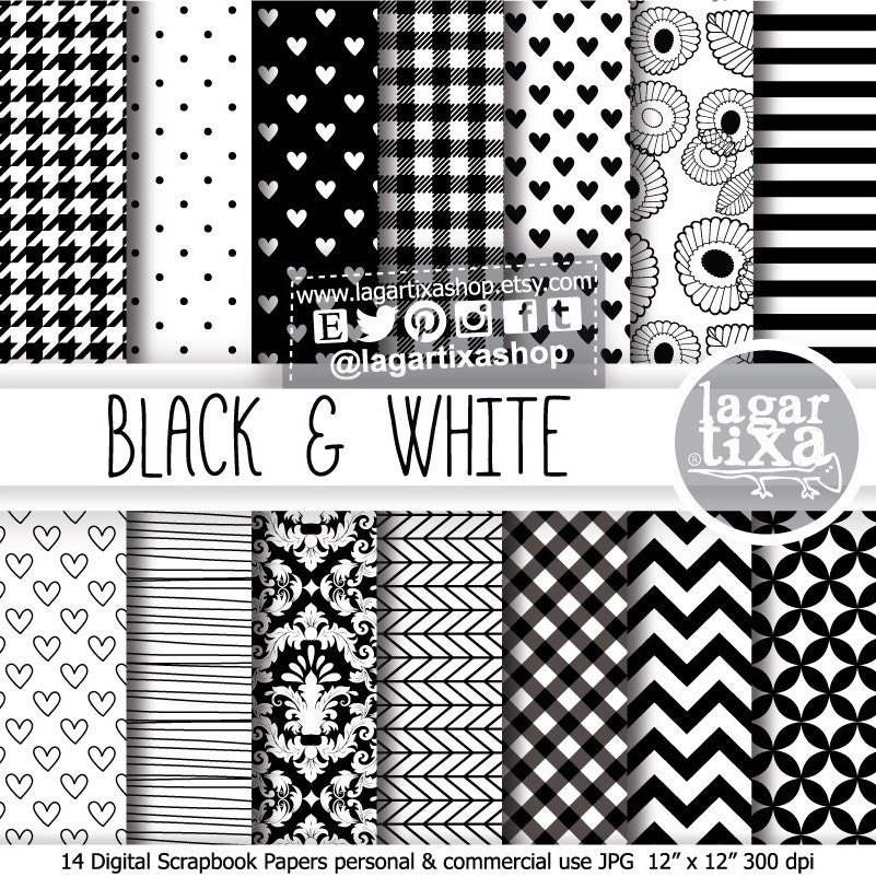 Papel digital fondos patrones blanco y negro chevron gingham - Papel de pared blanco y negro ...