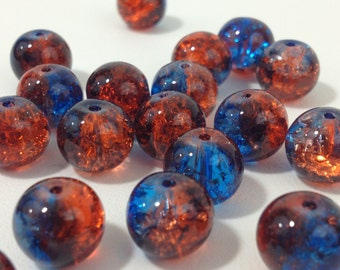 10pc. Blue & Brown Crackle Glass Beads 10mm