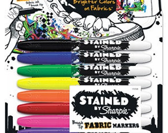 Lot of 5 - Sharpie Stained Permanent Fabric Marker, Assorted, 8pk