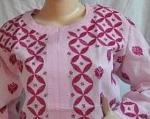 Sale-Gift ideas pink tunic top womens fashion cotton shirt handmade bohemian wedding loungewear ethnic long sleeved blouse