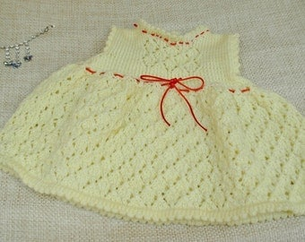 """SALE!!  Baby Girl Dress for 0-3 Month Baby or 20/22"""" Reborn Doll, DK, Handmade in Smoke and Pet Free Home"""