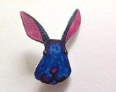 Rabbit Brooch - Happy Blue Bunny Lapel Pin - Woodland Forest Jewellery - Quirky Rabbit Lover Gift.