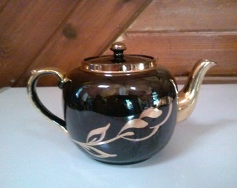 Gibson Teapot in Brown and Gold Hand Painted English china.
