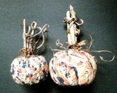 Primitive Pumpkins-Folk Art Storybook Pumpkins-Set of 2 Handmade Pumpkins from an 1800's Antique Coverlet w/Twig Stems