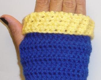 school colors fingerless gloves